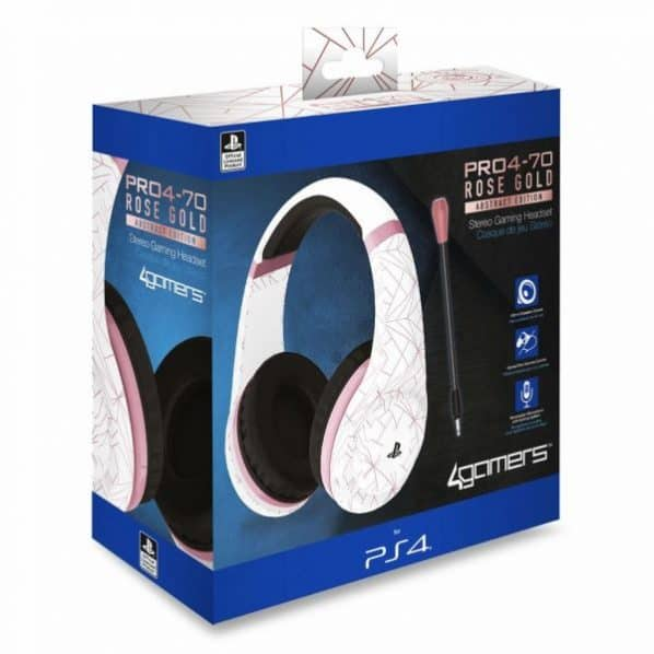 Auscultadores Gaming 4Gamers PRO4-70 Rose Gold Abstract PS4