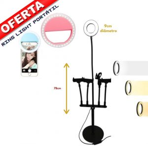 Ring light 3 em 1 com 3 suportes telemóvel e microfone 78cm com OFERTA RING LIGHT PORTATIL
