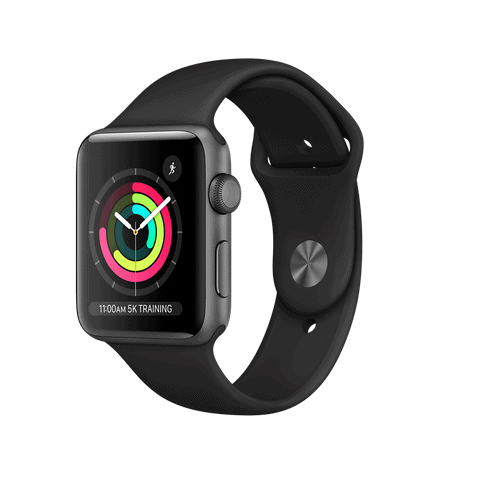 Apple Watch Series 3 GPS 42mm Space Grey Aluminium Black Sport Seminovo (Grade A+)
